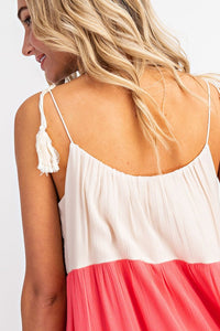 Color Block Light Shift Dress With Tassels - in Large