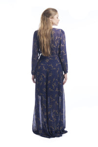 Hibiscus Flower Empress Maxi Wrap in Navy & Gold