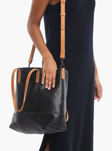 Abera Crossbody Tote in Black & Cognac