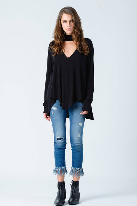 Black Long Sleeve Turtle Neck Top with Cut Out