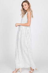 Sleeveless Striped Black & Ivory Maxi Dress
