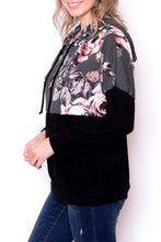 Black and Charcoal Floral Contrast Sweatshirt with Hood