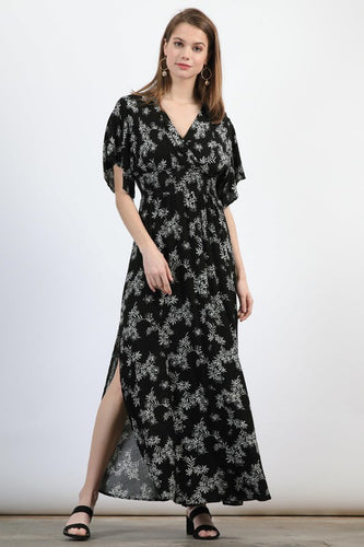 Black Floral Light Summer V-Neck Dress - in Small