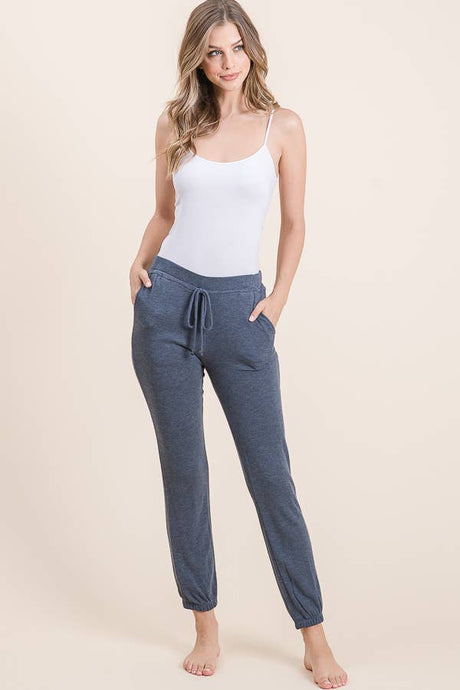 Comfy & Stretchy Joggers with Pockets in Denim Blue