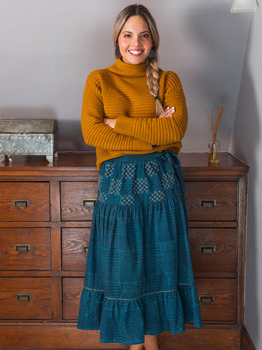 Blue Embroidered Fair Trade Skirt- S & L