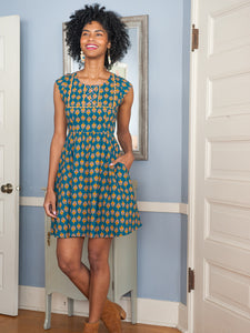 Aqua , Blush & Gold Block Printed Dress With Pockets