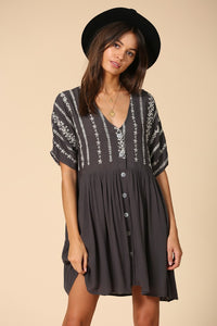 Boho Charcoal and White Embroidered Floral Light Gauzy Button Down Dress With Lining