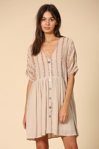Boho Cream and Rust Embroidered Floral Light Gauzy Button Down Dress With Lining