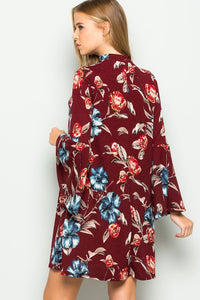 Burgundy Floral Bell Sleeve Dress
