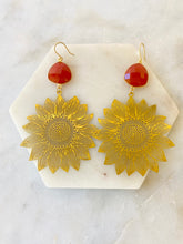 Carnelian Sun Flower Earrings