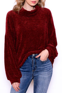 Chenille Cowl Neck Sweater in Wine
