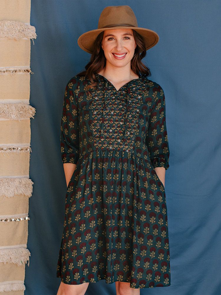 Pondi Dress in Teal - Embroidered & Fair Trade