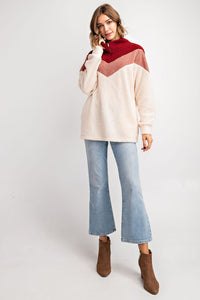 Soft Sherpa Colorblock Pullover Jacket