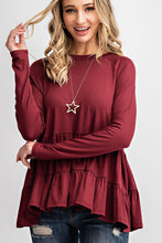 Tiered Raglan Stretchy Long Sleeve Peplum Top in Burgundy