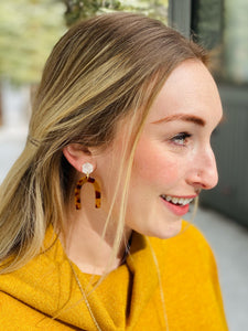 Brown Tortoise U Earrings