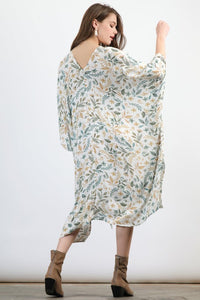 Cream Botanical Kaftan Dress