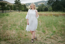 Eyelet Bell Sleeve Dress In White