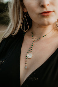 Jade Coin Drop Necklace