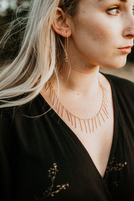 Spike Statement Gold Necklace