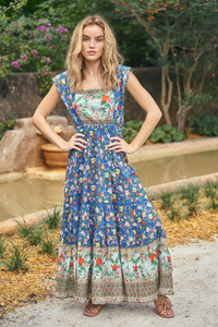 Floral Empire Waist Shift Dress in Blue Cotton