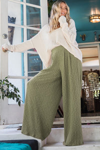 Flowy Wide Leg Pants in Olive - Ultra Comfortable