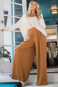 Flowy Wide Leg Pants in Camel - in Large