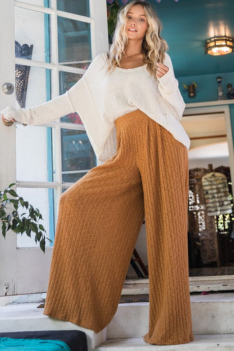 Flowy Wide Leg Pants in Camel - Ultra Comfortable