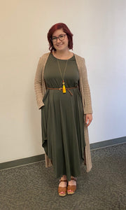 Olive Full Length Dress With Pockets