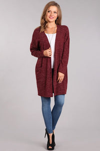 Open Heather Cardigan in Berry - in Large