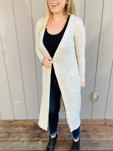 Heather Grey Duster Cardigan with Pockets