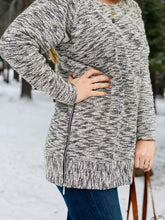 Heathered Grey Knit Sweater Pullover with Zipper