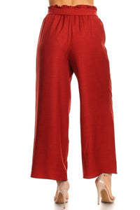 High Waisted Flowy Pants in Cranberry