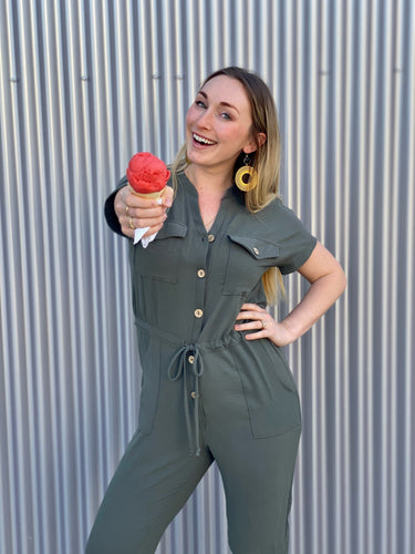 Abby Utility Jumpsuit in Pine