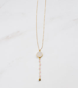 Gold Filled White Druzy and Rose Quartz Necklace