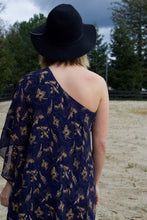 Navy and Gold One Shoulder Dress