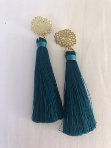 Floral Tassels in teal