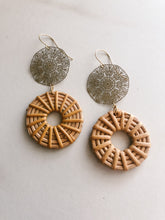 Floral Brass & Rattan Earrings