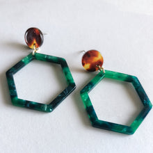 Green Hex Earrings