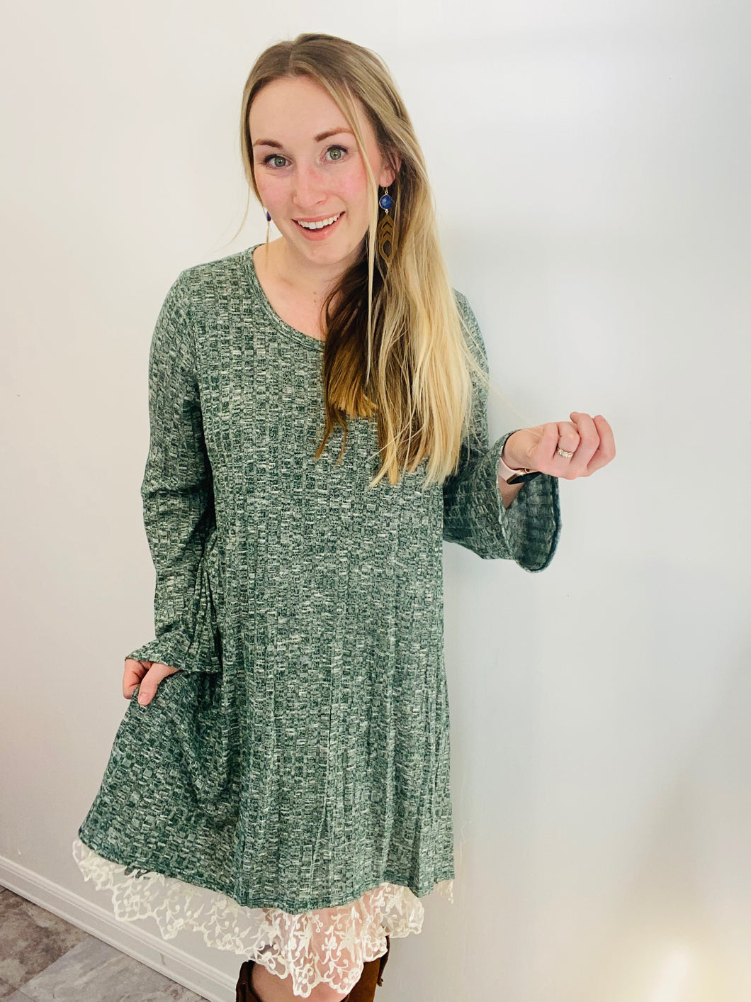 Ribbed Sweater Tunic in Green with Lace Underlay
