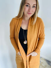 Button Down Cardigan with Pockets in Mustard