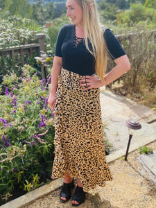 Classic Leopard Faux Wrap Skirt - in Small & Large
