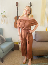 Soft Rust Off Shoulder & Strapless Jumpsuit -it's versatile!
