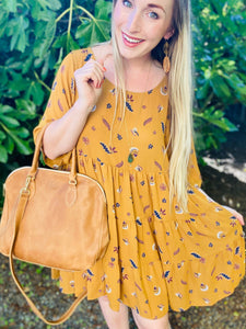 Mustard Boho Babydoll Dress