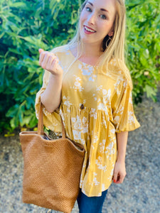 Bight Summer Floral Yellow Tunic