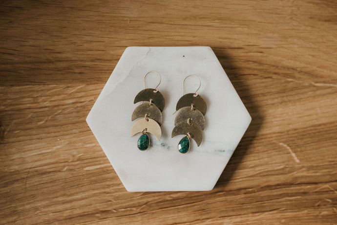 Emerald Moon Earrings