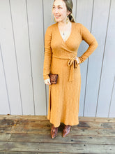 Knit Wrap Dress in Camel
