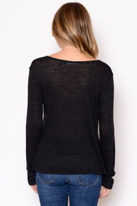 Long Sleeve Cinched Tie Top in Black