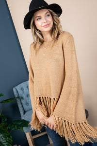 Long Sleeve Fringe Sweater in Camel