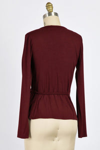 Long Sleeve Stretchy Wrap Top in Burgundy
