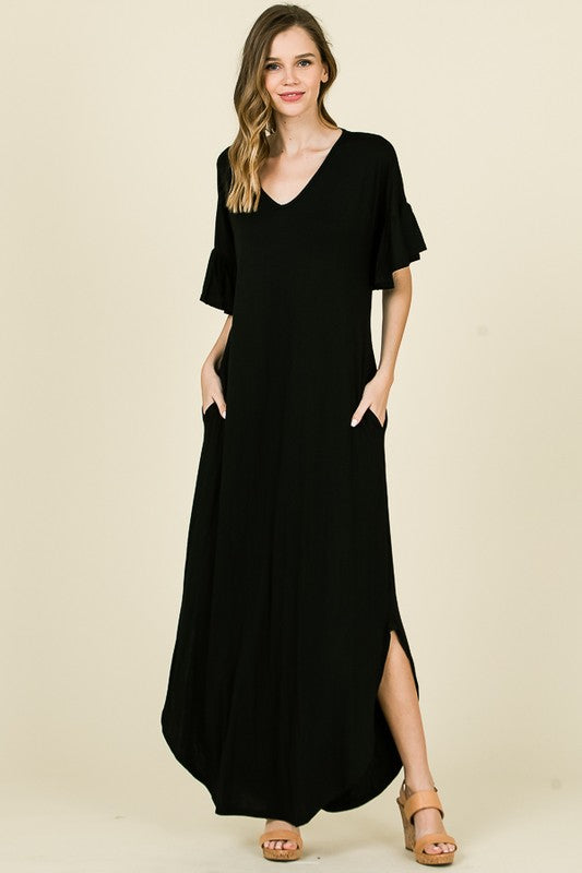 Long Stretchy Maxi Dress with Ruffle Sleeves and Pockets in Black